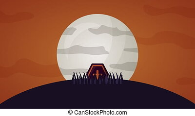 happy halloween celebration with tomb in cemetery animation...