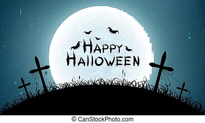 Happy halloween. Cemetery with crosses against the full moon. The starry sky. Spiders, bats and spiderweb. Grunge text. Vector