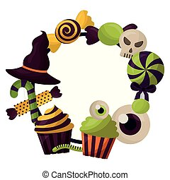 happy halloween circular frame