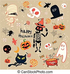 happy Halloween clip art cartoon set