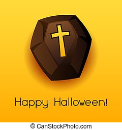 Happy Halloween coffin. Celebration party greeting card.