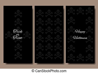 Happy Halloween. Collections banner vertical background. Stylish design. Skull and Bones