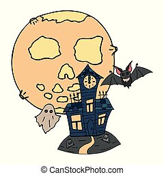 Happy halloween color vector icon moon graveyard crypt with vampire bat and ghost. Trick or treat. Cute spooky element. Cemetery, monster, celebration. Witchcraft and magic. Background illustration.