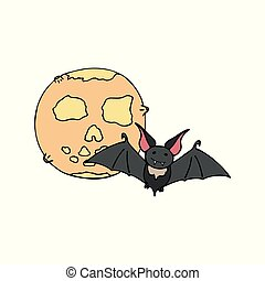 Happy halloween color vector icon with cute vampire bat and moon. Trick or treat. Cute naive doodle, spooky element. Graveyard, monster, fall celebration. Witchcraft and magic. Background illustration