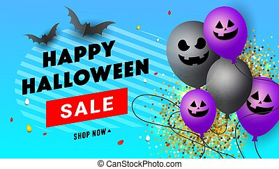 Happy Halloween creative poster with scary face balloons, black bats, candies and gold confetti decor on blue background. October 31st celebration