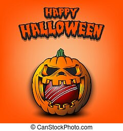 Happy Halloween. Cricket ball inside frightening pumpkin. The pumpkin swallowed the ball with burning eyes. Design template for banner, poster, greeting card, party invitation. Vector illustration