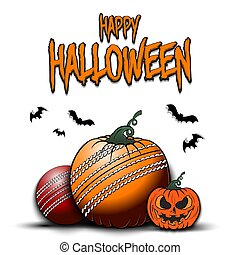 Happy Halloween. Template cricket design. Cricket balls in the form of a pumpkins on an isolated background. Pattern for banner, poster, greeting card, flyer, party invitation. Vector illustration