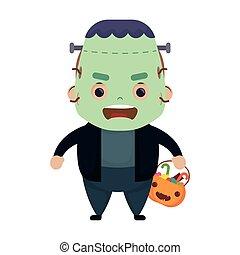 happy halloween cute boy disguise frankenstein character