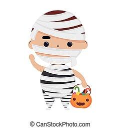 happy halloween cute boy disguise mummy character