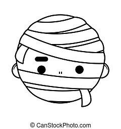 happy halloween cute boy disguise mummy head character
