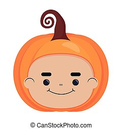 happy halloween cute boy disguise of pumpkin head character