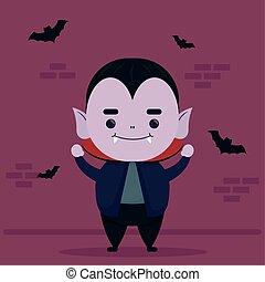 happy halloween cute dracula character and bats flying