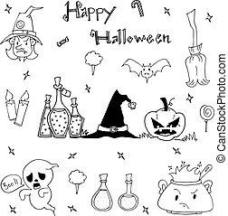 Happy Halloween cute element in doodle