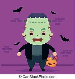 happy halloween cute frankenstein character and bats flying