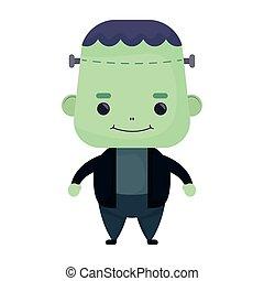 happy halloween cute frankenstein character