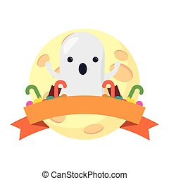 happy halloween cute ghost with ribbon frame