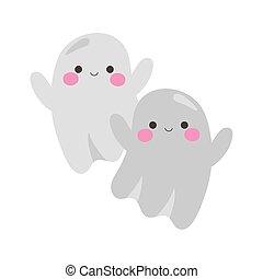 happy halloween cute ghosts cartoon character