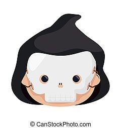 happy halloween cute kid disguise death head character