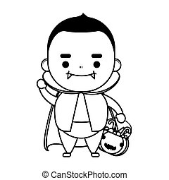 happy halloween cute kid disguise dracula character