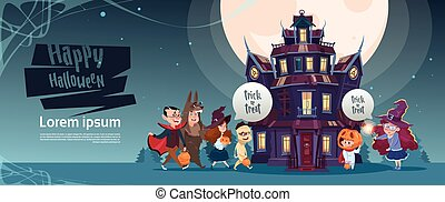 Happy Halloween Cute Monsters Walking To Gothic Castle With Ghosts Holiday Greeting Card Concept