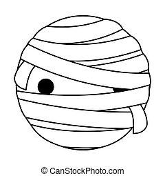happy halloween cute mummy head character