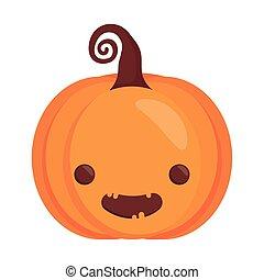 happy halloween cute pumpkin head character