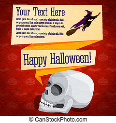 Happy halloween cute retro banner - craft paper texture with white human skull and witch on broomstick, greeting, place for your text.