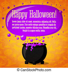 Happy halloween cute retro banner on craft paper texture...