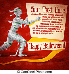Happy halloween cute retro banner on craft paper texture with egypt mummy and bandages, greeting, place for your text.