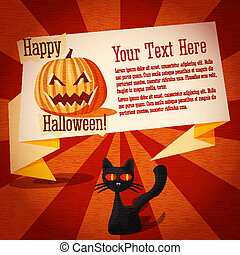 Happy halloween cute retro banner on the craft paper texture with black cat and pumpkin