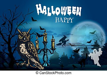 Happy Halloween dark greeting card