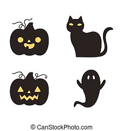 happy halloween, dark pumpkins cat and ghost trick or treat party celebration