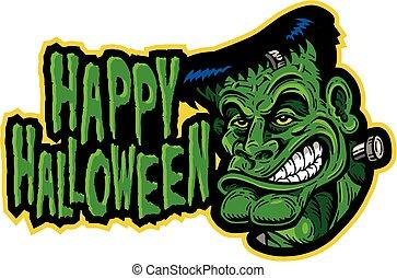 happy halloween design with frankenstein's monster