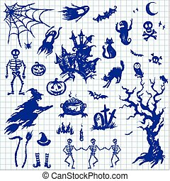 Happy Halloween designs set with various elements of holiday