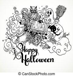 Happy Halloween doodles background