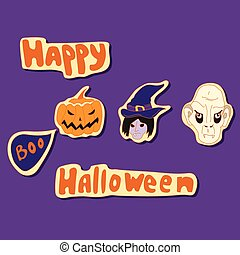 happy halloween elements vector set