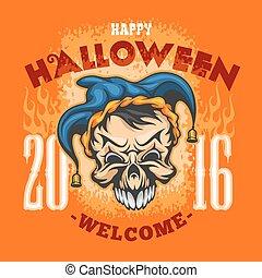 Happy Halloween. Evil clown skull