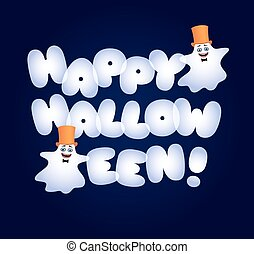 Happy Halloween fat letters ghosts