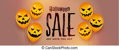 happy halloween festival sale banner with laughing scary balloons