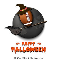 Happy Halloween. Football ball with witch hat on a broomstick against the background of the moon. Pattern for banner, poster, greeting card, flyer, party invitation. Vector illustration