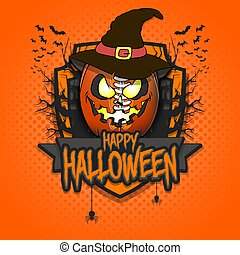 Happy Halloween. Logo football ball in the form of a pumpkinin in witch hat on an isolated background. Design template for banner, poster, greeting card, flyer, party invitation. Vector illustration