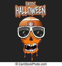 Happy Halloween. Football ball with skull