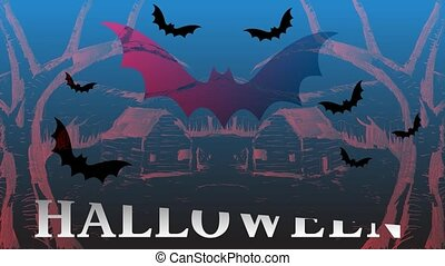 Happy Halloween Forest? Bats. Motion Graphics. Intro Video...