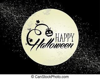 Happy Halloween full moon and pumpkin illustration EPS10 ...
