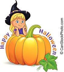 Happy Halloween funny girl in black  hat with pumpkin