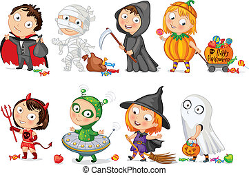 Happy Halloween. Funny little children in colorful costumes...