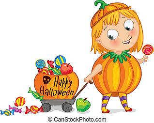 Happy Halloween. Funny little girl dressed as a pumpkin, ...