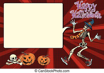 Happy Halloween funny skeleton invites you to a party