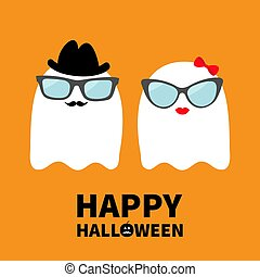 Happy Halloween. Ghost spirit family couple with lips, mustaches and eyeglasses, hat, bow. Scary white ghosts. Cute cartoon character. Spooky face Greeting card Orange background. Flat design.