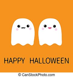 Happy Halloween. Ghost spirit family couple with lips, mustaches. Scary white ghosts family. Cute cartoon character. Boo spooky face. Orange background. Greeting card Flat design.